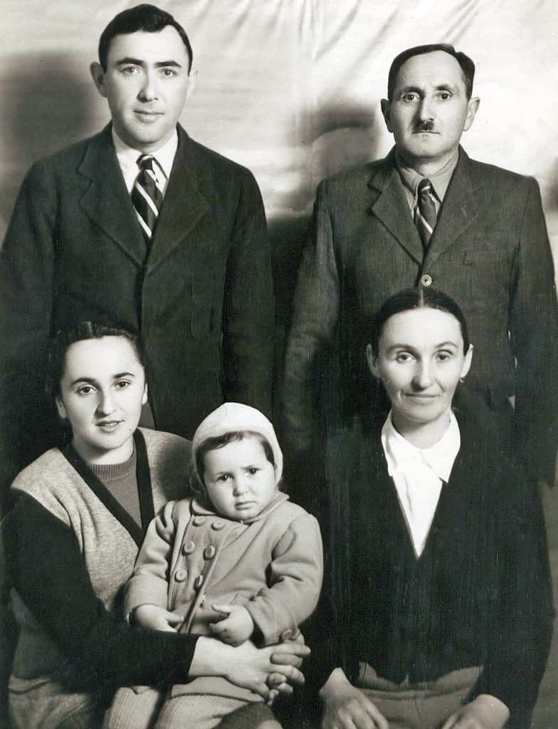 14 Family Portrait - Pesach, Lea and Adele Friedberg, Gutel and Genya Berkowsky, Rome, Italy after the war - Copy