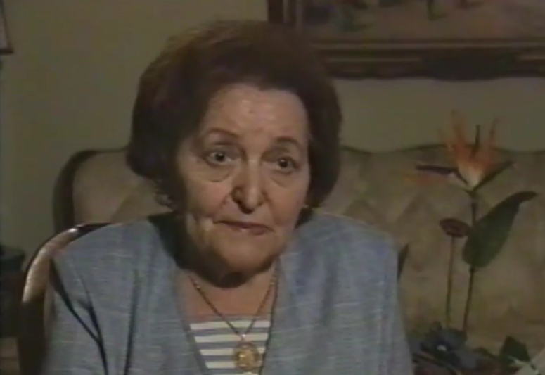 Rachel (Rose) Wolfe during a Shoah Foundation interview (1995).