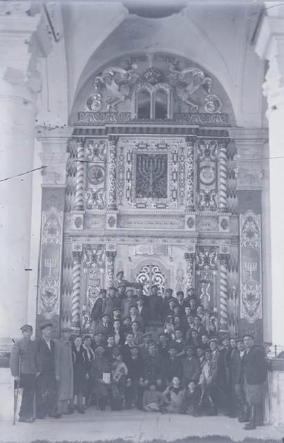 Wlodawa's Surviving Jews in Front of the Bemah at the Shul