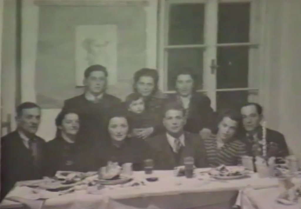 Rachel and Chaim (center) on their wedding day in a Salzburg DP camp (January 17th, 1946).